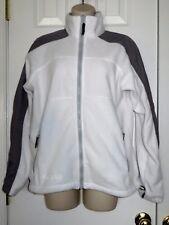 Women's Columbia Fleece Full Zip Jacket Soft White and Gray Size Medium EUC