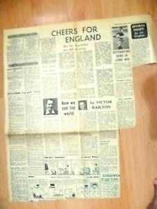 1966 World Cup Press Cutting-Cheers For ENGLAND But Argentinos are Still Moaning