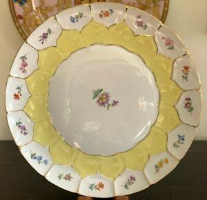 """Meissen Porcelain Yellow Floral Platter 11 1/8"""""""
