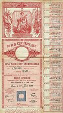 FRANCE REPUBLIC 5% LOAN stock certificate 1939 W/COUPONS