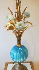 Italian Murano Art Glass Lamp Mid-Century Modern Aqua Gold Metal Barovier & Toso