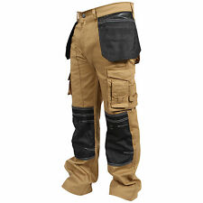 Mens Work Trousers Cordura Knee Working Pants Cargo Combat Worker Trousers