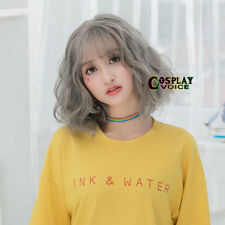 30CM Lolita Short Curly Mixed Gray Fluffy Bob Hair Cosplay Wig Thin Bang+Cap