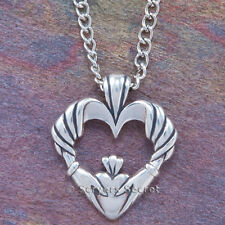 CLADDAGH Necklace Irish Love Charm HEART Hand CELTIC Pendant sterling silver 925