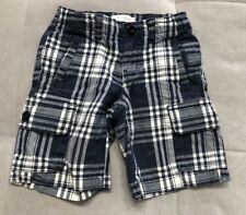 Lend's End Boys Cargo Shorts Size 4 Blue White Checked Thick Cotton
