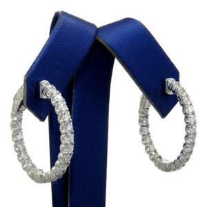 NEW 2.00 TCW Inside/Out Diamonds 1 Inch Hoop Earrings Solid 14k Gold Secure Lock