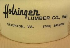 Vintage Holsinger Lumber Co Staunton Virginia Trucker Hat Snapback Mesh Back Cap