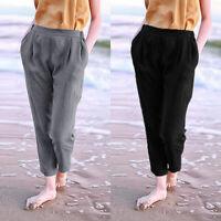 UK 8-24 Women Solid Elastic Waist Wide Legged Casual Loose Harem Pants Trousers