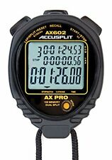 Accusplit Ax602 Pro Memory 100 3 Line Display Stopwatch with Stroke Rate Black