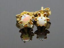 Vintage 0.16CT Natural Brazilian Fire Opal 14K Gold Earrings, 0.5g