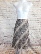 INC Womens Skirt Size 6 Casual Brown Geometric Knee Length Silk