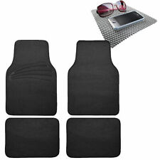 4pcs Full Carpet Floor Mats Universal Fit for Car SUV Black w/ Gray Dash Mat