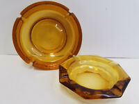 "Vintage Amber Glass Ashtray Stand Insert Lot of 2 Art Glass 7"" and 8"""