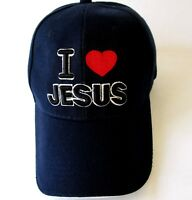 I Love Jesus Cap Dad Hat Baseball Navy Embroidered EUC Adjustable Strap Christ
