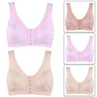 Vest Bra Front Clasp Wireless Cotton Sleep Underwear for Middle-aged Women