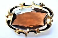 VTG Smoky Topaz Statement Brooch Mid Century Coat Sweater Pin Retro Jewelry