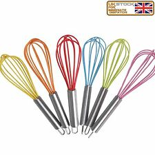 Egg Whisk Stainless Steel Handle Silicone Coated Wire Utensil Random Colours