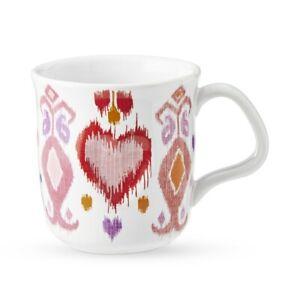Williams Sonoma Amour Heart Ikat Valentine's Day Stoneware Coffee Cup Mug