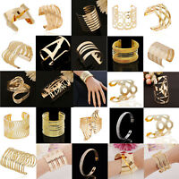 Fashion Women Gold Silver Plated Crystal Open Bangle Cuff Wide Big Bracelet Gift
