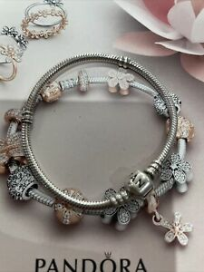 A Genuine Pandora Bracelet Charm 18cm Moments Barrel Clasp
