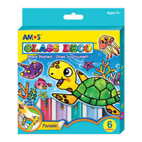 Stained Glass Paints Set Painting Kit Great Christmas Gift for Kids - 6 Colours