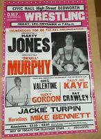 Vintage Wrestling Poster 1980's Marty Jones Skull Murphy Greg Valentine Gordon