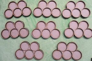 8 Olympic Shape Movement Trays for 25mm Round Bases, 5 in each tray Bolt Action