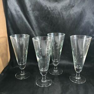 Set of 4 PRINCESS HOUSE Etched Heritage Pilsner Glasses