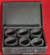 Vintage Leather Napkin Rings in a Leather Box