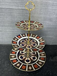 royal crown derby 1128 Old Imari 3 Tier Cake Stand 1st Quality