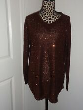 Soft Surroundings Brown Bronze Glitter Sequins Knit Sweater Top Size S NWT