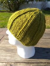 Mens Sailor Beanie Rib Hat Chunky Wool Cap Hand Knitted Skully Lime Green