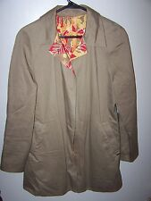 Anne Klein womens size Small Coat jacket Tan reversible Yllw Orng Floral print S