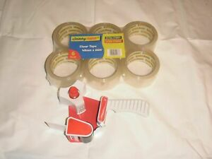 stikky tape - clear 48mm x 66m (pack of 6) extra stikky / strong + free tape gun