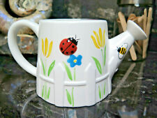 White Planter Ladybug Bee Vase Ceramic Watering Can Flower Dragonfly Pitcher