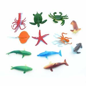 12 Sea Animals Figures Plastic Kids Birthday Party Bags Fillers Collectible Toys