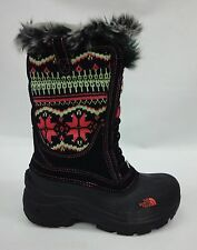 North Face Girls/Kids Shellista Lace Boots A1C5 TNF Black/Sea Coral Orange Sz 1