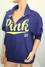 Victoria's Secret Pink Women's Sweatshirt Graphic Color Blue Sz XS NWT Half Zip
