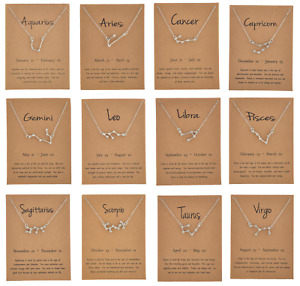 Ladies Silver Horoscope Astrology Zodiac Letter Birth Sign Chain Necklace Gift