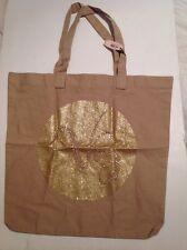 Victorias Secret Gold Studded Glitter Medium L/W Canvas Tote Book Bag NWT LE