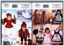"""VOGUE 9579 & 9641 PATTERNS Doll Dress Coats Clothes Fits 18"""" American Girl"""