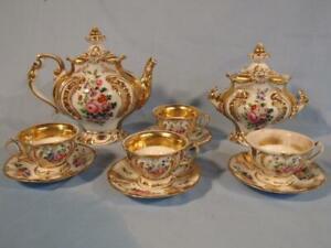 GORGEOUS ANTIQUE PARIS PORCELAIN 10 PIECE TEA SET W/CUPS CA 1850 - FLOWERS
