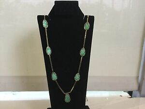 """REDUCED!!! 14K YELLOW GOLD AND JADE HANDCRAFTED 30 1/2""""  """"S"""" CHAIN"""