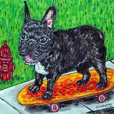 french bulldog skateboarding dog art tile coaster gift artwork modern