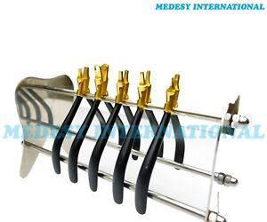 Orthodontic Retainer Pliers Clear Aligner Invisible Titanium Coated 5 Pcs +STAND