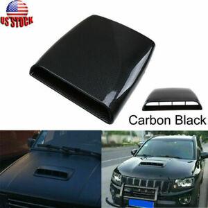 Car Decorative Air Flow Intake Hood Scoop Vent Bonnet Cover Trim Black Carbon