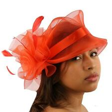 Fancy Handmade Feathers Organza Pin Fascinator Millinery Cocktail Hat Cap Red