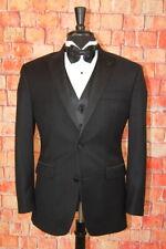 Mint ! 38 S Tallia Black Slim Fit Diamond Brocade Peak Lapel Wool Tuxedo 32x28