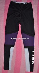 Victoria's Secret Ultimate Leggings Pants High Waist Black Purple Mesh S NWT