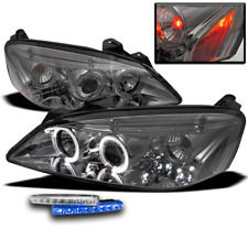 2005-2010 PONTIAC G6 SMOKE HALO LED PROJECTOR HEAD LIGHT+BLUE SIGNAL DRL NEW SET